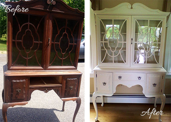 Before and after of old furniture refinish
